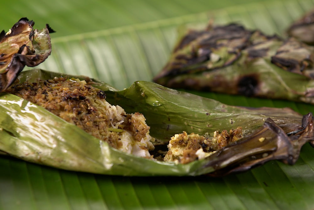 Spiced halibut in banana leaves by Steven Raichlen for iBBQ