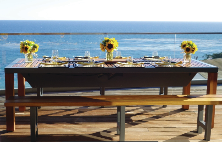 8-seater Angara Maximus grill table oceanside