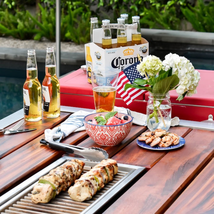 Labor Day BBQ - chicken, shrimp, and Corona beer on an Angara grill table