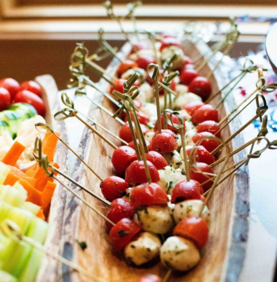 cherry tomato and mozzarella balls on skewers
