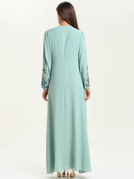 Moroccan Long Women Dress Bleu Vert
