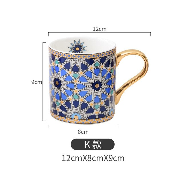 Vintage Texture Coffee Mug with Gold Handle Moroccan Style Ceramic Tea Water Cup 300ml