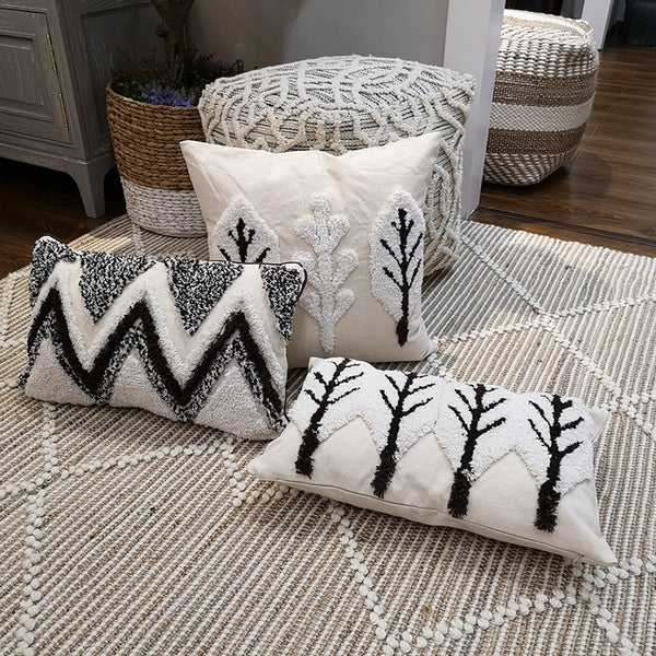 Moroccan Style Coffee White Cushion Cover Pillow Case Handmade For Sofa Seat Home Decorative 45x45cm  30x50cm TreeZip Open