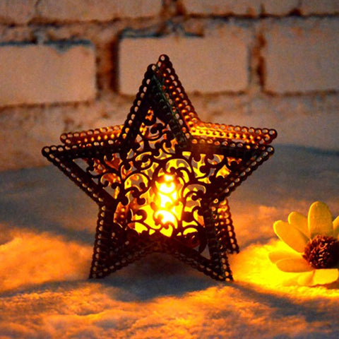 Moroccan candlestick candles five-pointed star colorful candlestick for light for house shop bar decoration