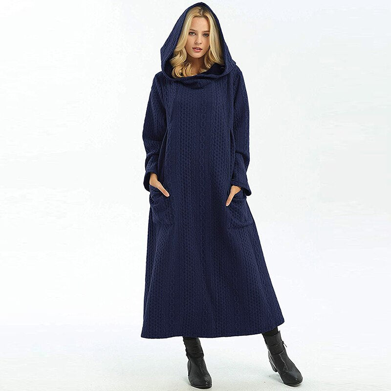 Winter Kaftan Moroccan Hijab Cotton Dress