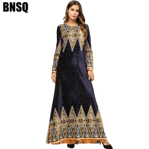 Long Luxury Dress Black Gold spring autumn