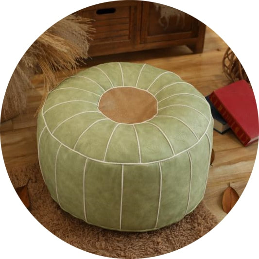 Handmade Moroccan Pouf Living Room Decor - Round & Large