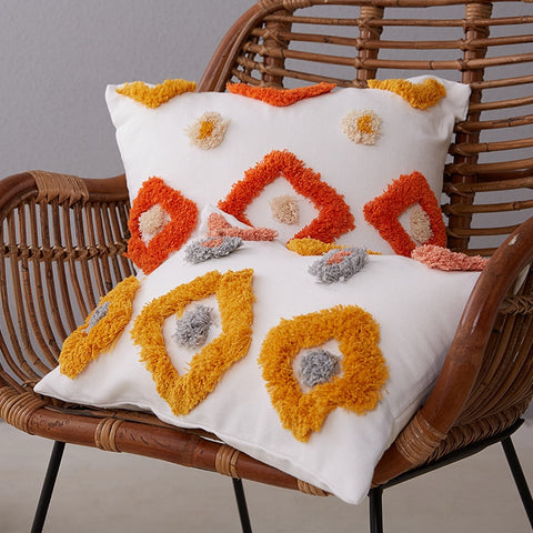 Luxury Moroccan flock home decorative cushion cover 45*45 dots geometric pillowcase tassel sofa bed chair lumbar pillow cover