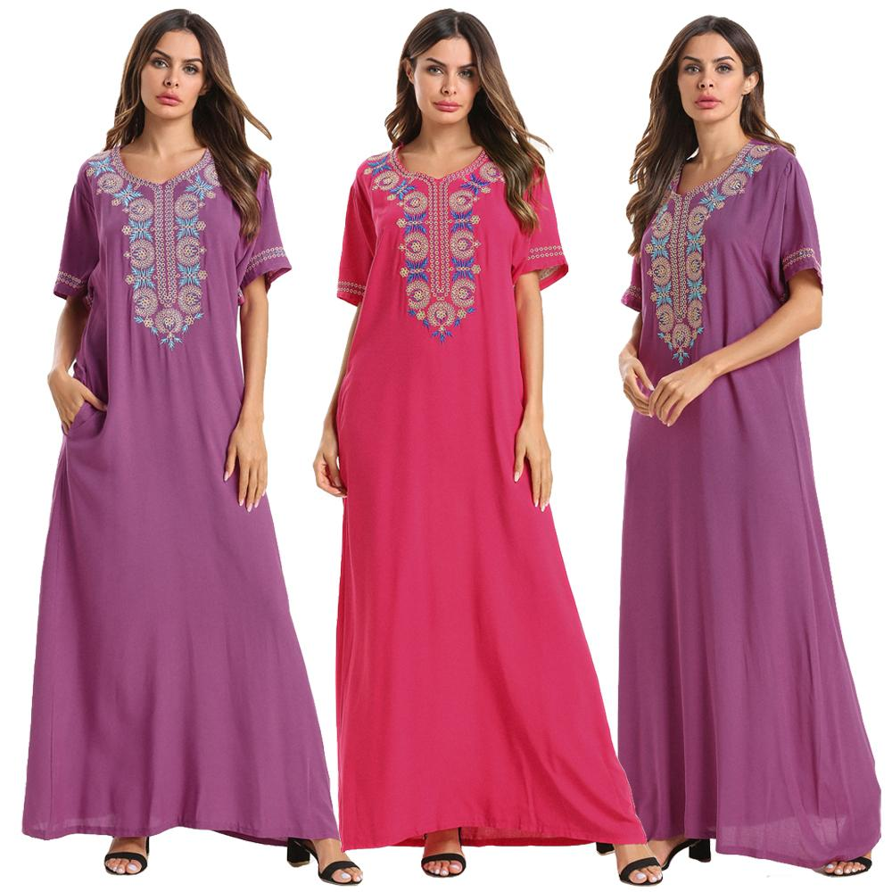 Women Long Dress Embroidery Jilbab Moroccan Robe Gown