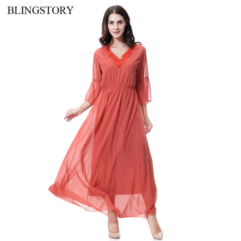 Lady V Collar Gown Robe Kaftan Chiffon Women Dress