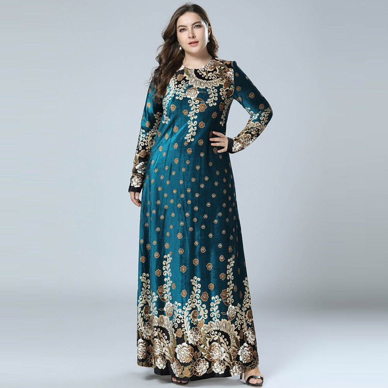 Winter Velvet Maxi Long Dresses Elegant Gold Stamping Floral Moroccan Dress
