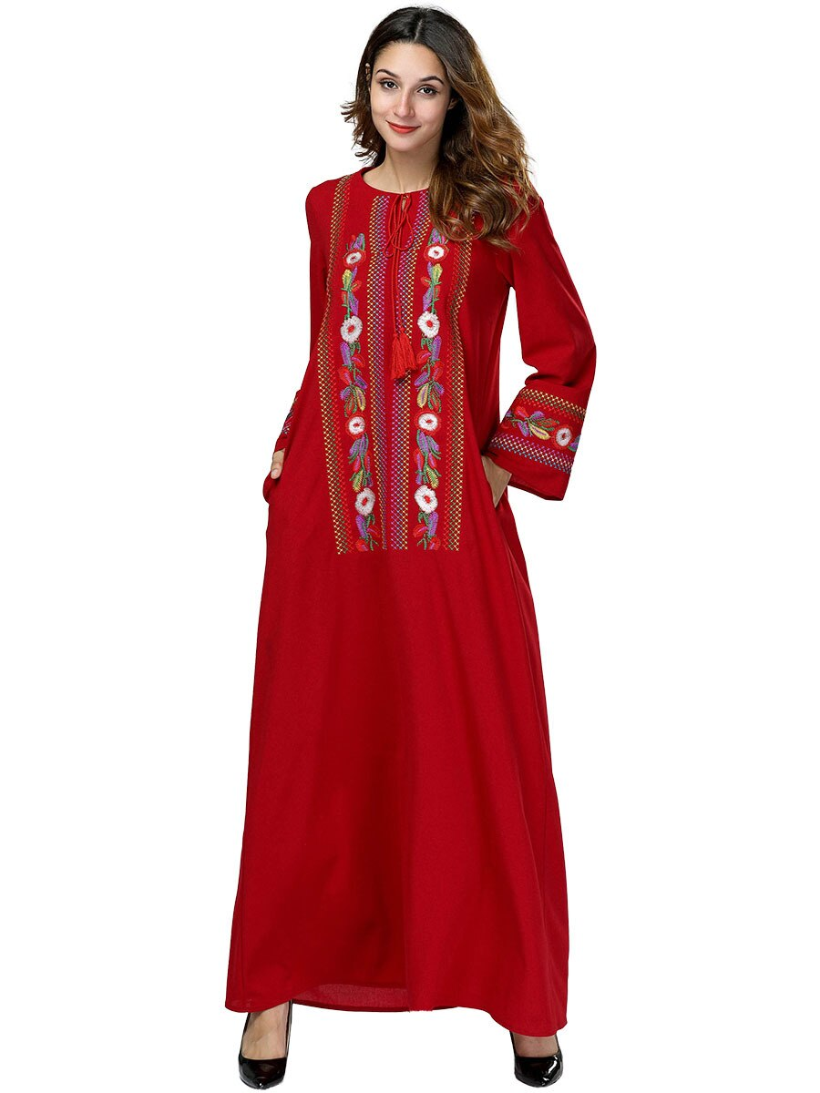 Red Moroccan Kaftan Evening Long Sleeve Heavy Loose