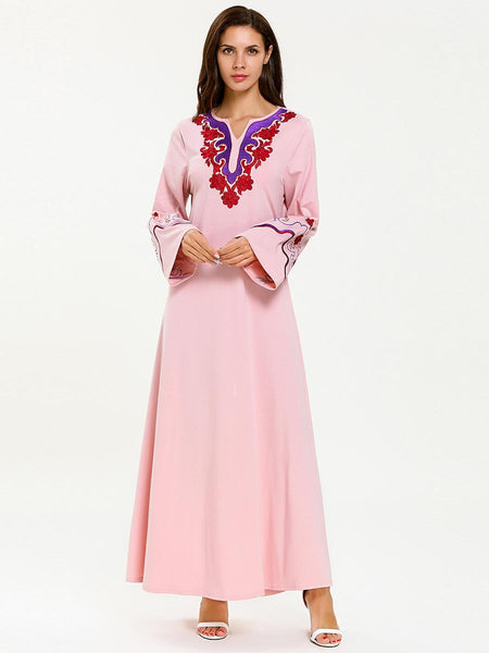Embroidery Pink Long Dress