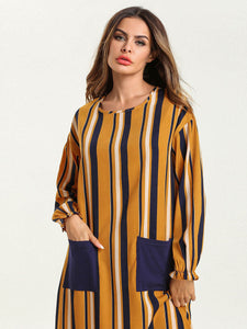 Long Pockets Robe Stripes Jaune Bleue Blanche