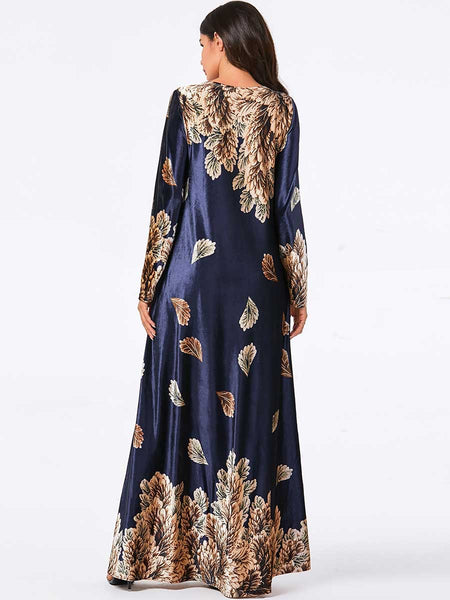 Dubai Velvet Dress Women Jubah Long Robe Flowers