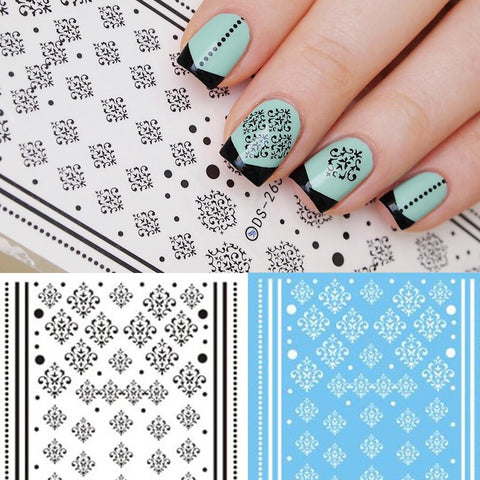Morroccan Nail decals Damask water stickers decorations