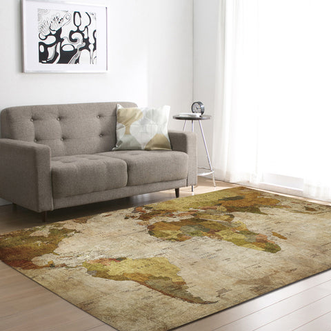 Vintage World Map printed Carpet Moroccan Ethnic Style Bedroom Area Rug