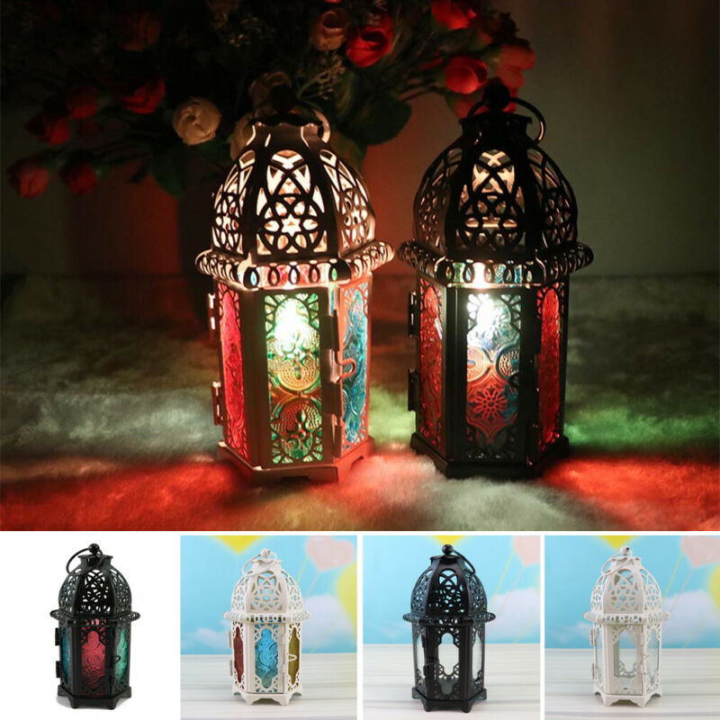 Vintage Hanging Candle Holder Moroccan Glass Candle Lantern