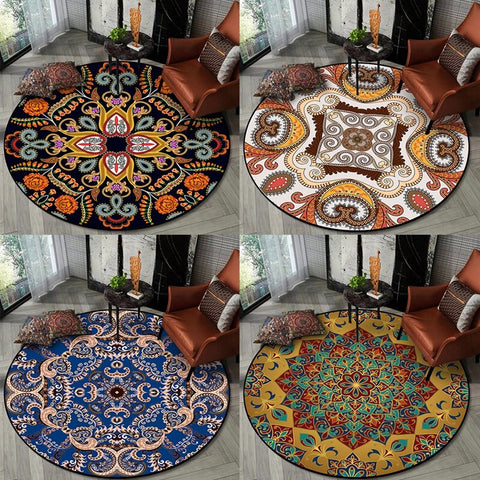 Moroccan Style Area Rugs Living Room Vintage European Flowers Round Carpets Kids Room Bedroom Play Tent Non-Slip Floor Mat Rug