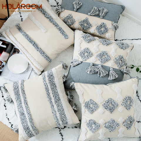 Moroccan Decorative Pillowcase Embroidered Cushion Covers Geometric Pattern Pillow Case Sofa Throw Cotton Cloth Cushion Cover