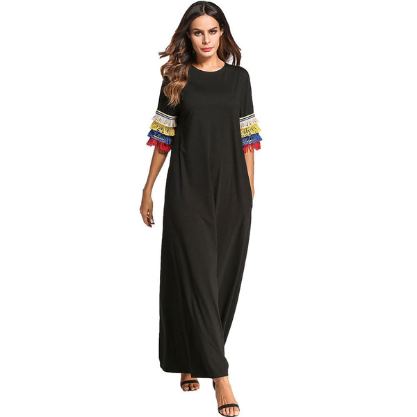 Summer Tassel Design Long Hooded Dress Black