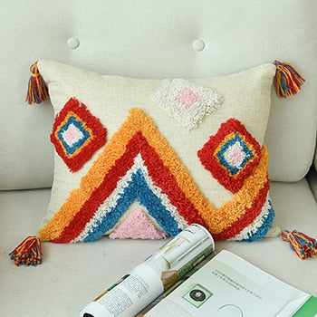 Handmade Luxury Moroccan Style Cushion Cover Wool Tassels Boho Style Ethnic Colorful Pillow Cover 45x45cm/30x50cm HomeDecoration