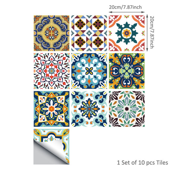 Self-adhesive Moroccan Tile Wall Sticker PVC Oil-proof Waterproof for Home