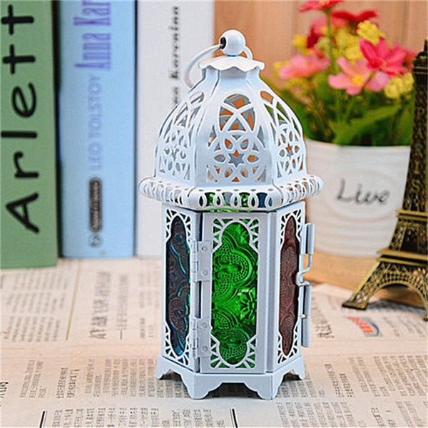 Classic Moroccan Windproof Candle Holders Votive Iron Glass Hanging Candlestick Candle Lantern Party Home Wedding Decor 7*16.5cm