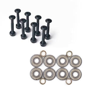 Quality bearings, hardware, shock pads or risers as needed