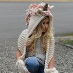Crochet Unicorn Hat with Scarf and Pocket