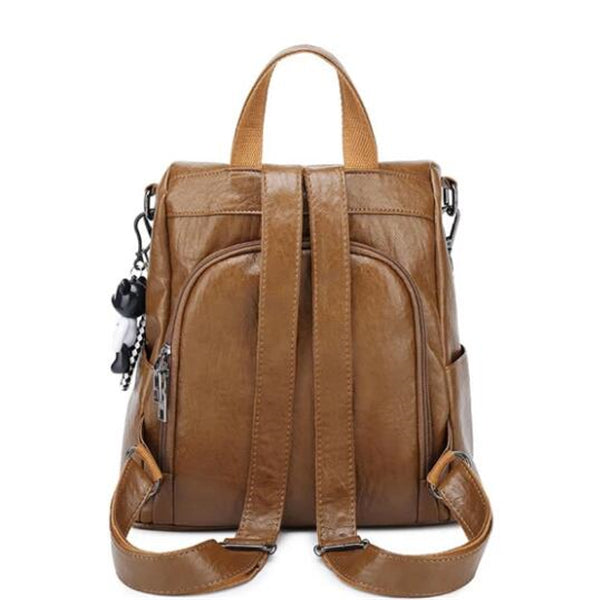 Vintage Zipper Pocket Solid Multifunctional Anti-theft Backpack