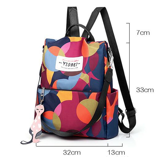 Women's Fashion Oxford Contrast Color Multifunctional Waterproof Anti-theft Backpack