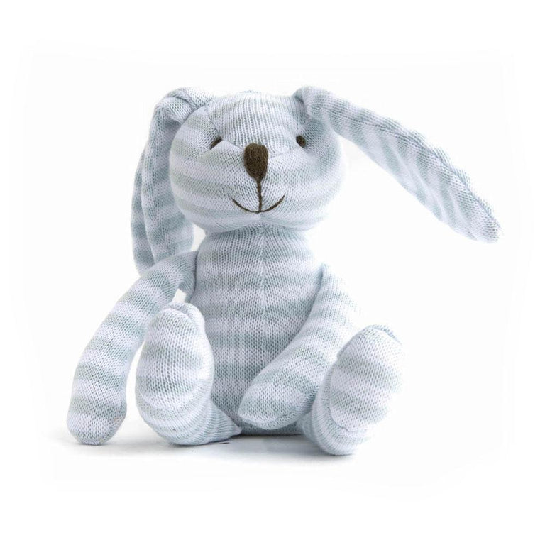 Blue stripped bunny stuffed animal