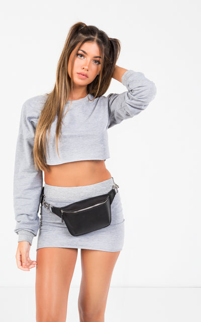 CREW NECK LONG SLEEVES MINI SKIRT CO-ORDS SET