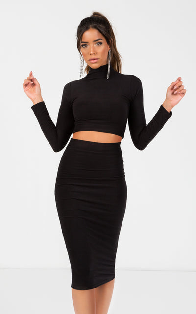 HIGH NECK LONG SLEEVE CROP TOP & BODYCON MIDI SKIRT CO-ORDS SET