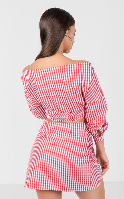 GINGHAM OFF SHOULDER  2 PIECE SET