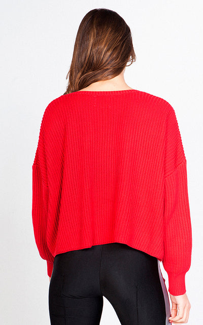 TEXTURED V-NECK LONG SLEEVED LOOSE SWEATER
