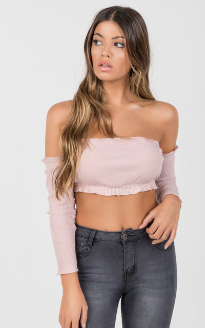 OFFSHOULDER LONG SLEEVES CROP TOP