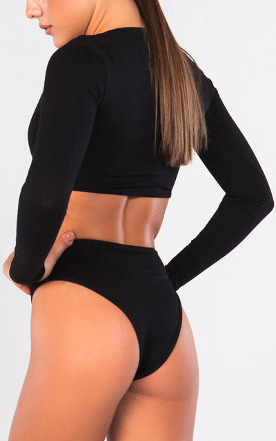 LONG SLEEVE CUTOUT CREW NECK BODYSUIT