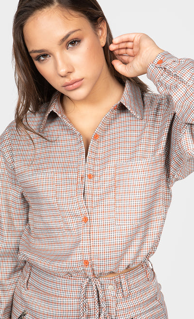 BUTTON-UP PLAID CROPPED BLOUSE TOP