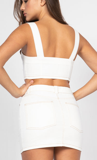 CONTRAST STITCH TWILL CROP TOP