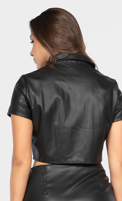 FAUX LEATHER FRONT POCKET CROPPED TOP