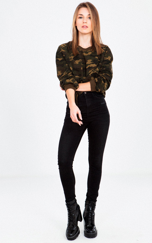 CAMO PRINT BOTTOM ELASTIC KNIT TOP