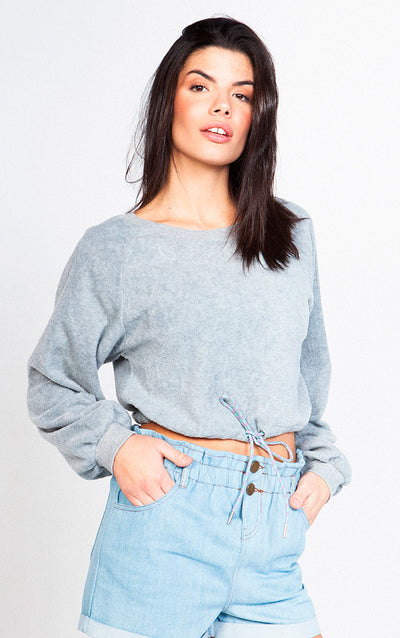 BOTTOM ELASTIC CROPPED SWEATSHIRT