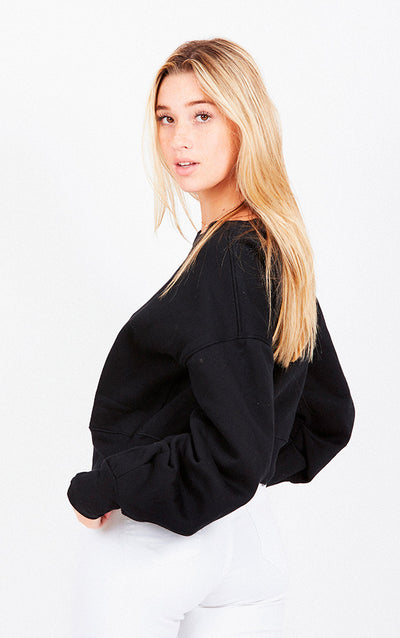 CROPPED RUCHED SWEATSHIRT