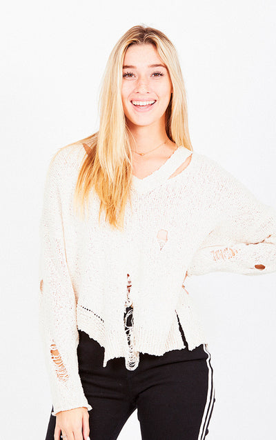 V NECK DISTRESSED LIGHT WEIGHT SWEATER