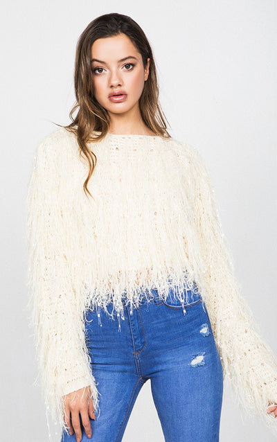FURRY KNIT CROPPED SWEATER