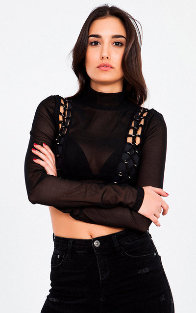 LONG SLEEVE TURTLE NECK MESH CROP TOP