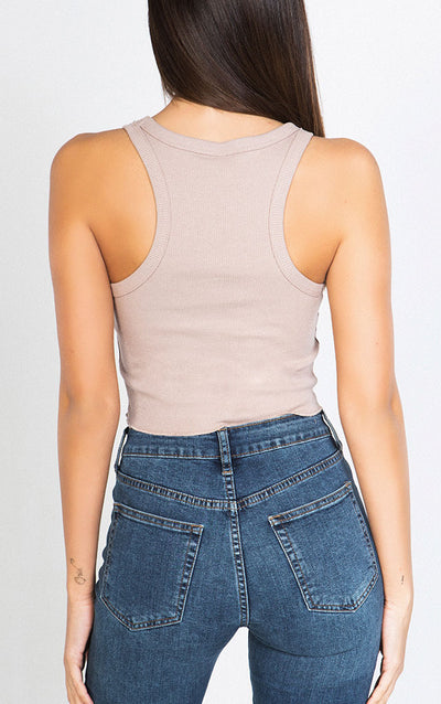 KNIT RIBBED CROP TANK