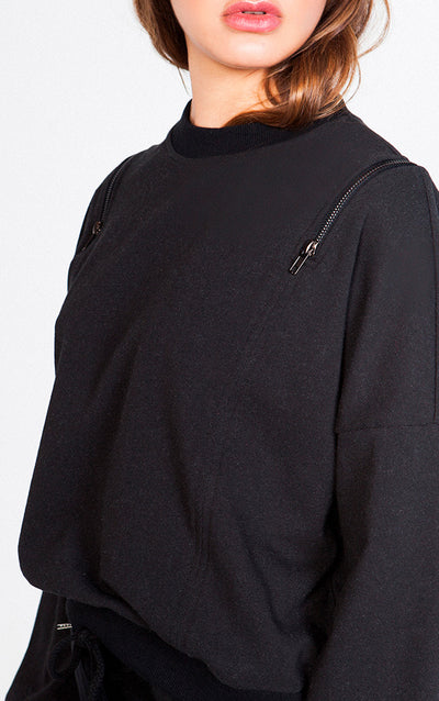 LONG SLEEVE CREWNECK WITH ZIPPER DETAIL OVER SHOULDER